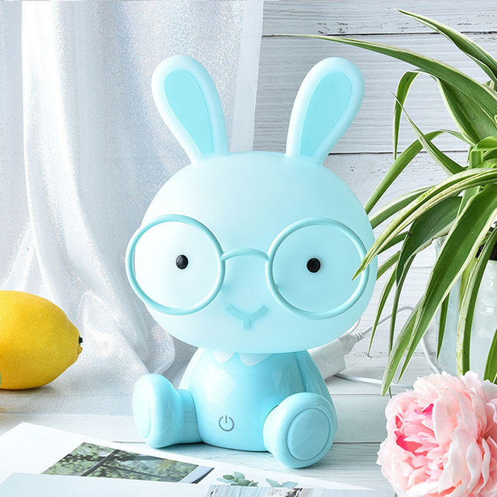 """Ночник """"Кролик в очках - голубой"""", 3 уровня яркости"""