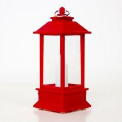 Фонарик со свечкой красный 13 см