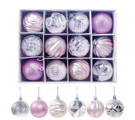 Набор новогодние шары 6 см - розовые