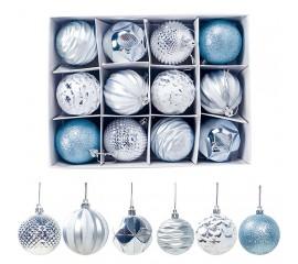 Набор новогодние шары 6 см - голубые