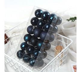 Елочные шары 4 см (36 шт) - сине-черные