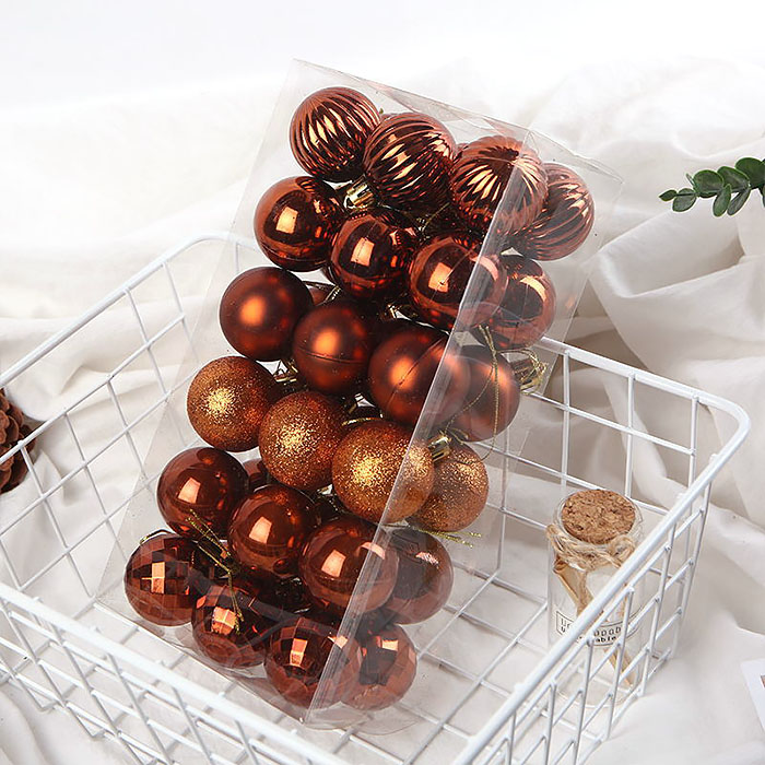 Елочные шары 4 см (36 шт) - медные