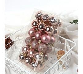 Елочные шары 4 см (36 шт) - розовое золото