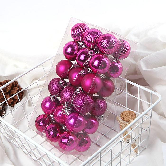 Елочные шары 4 см (36 шт) - малиновые