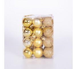 Набор елочных шаров 3 см - золото