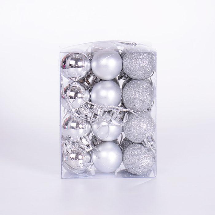 Набор елочных шаров 3 см - серебро