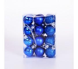 Набор елочных шаров 3 см - синий