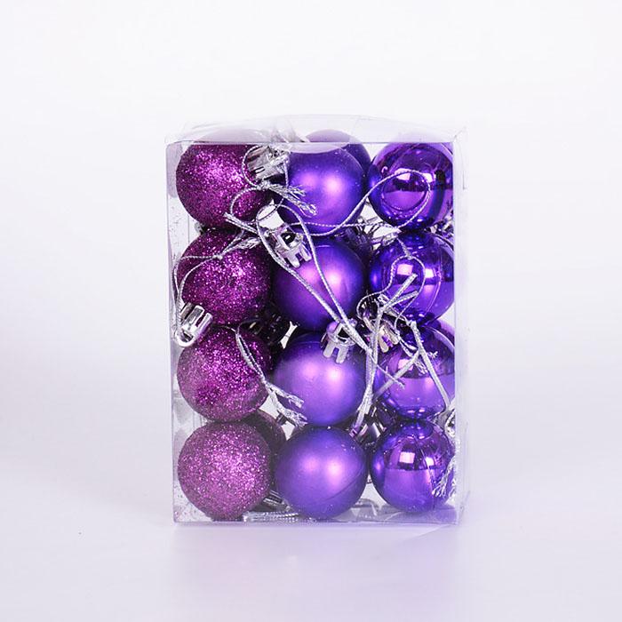 Набор елочных шаров 3 см - фиолет