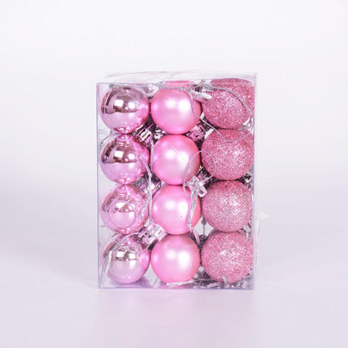 Набор елочных шаров 3 см - розовый