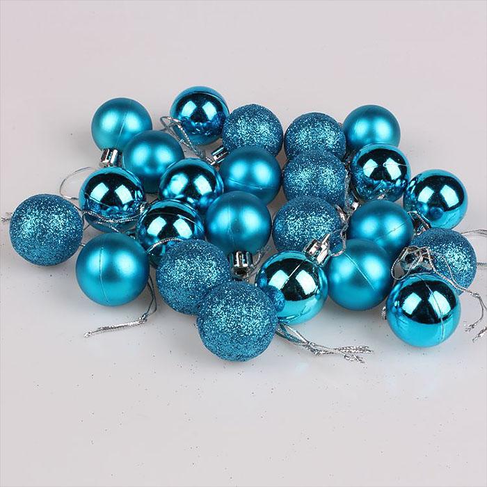 Набор елочных шаров 3 см - голубой