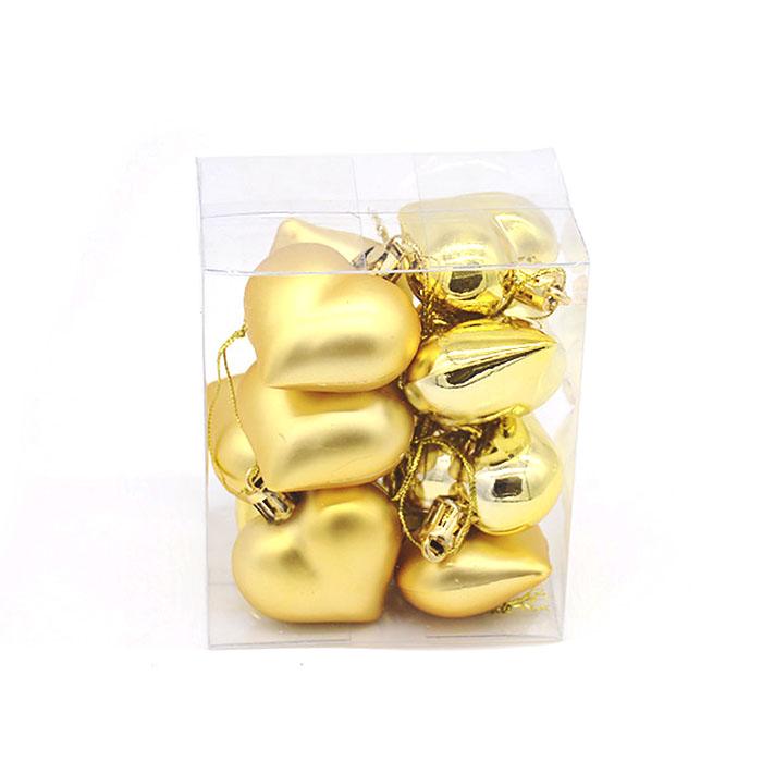 """Новогодние шары """"Сердечки золото"""" 4 см"""