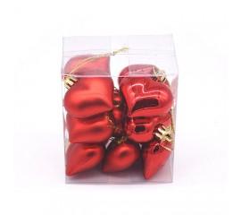 """Новогодние шары """"Сердечки красные"""" 4 см"""