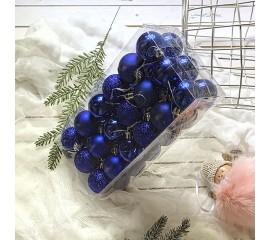 Елочные шары 4 см (36 шт) - синие