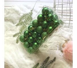 Елочные шары 4 см (36 шт) - зеленые