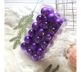 Елочные шары 4 см (36 шт) - фиолет