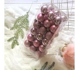 Елочные шары 4 см (36 шт) - розовые
