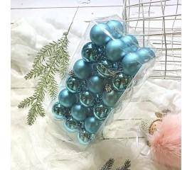 Елочные шары 4 см (36 шт) - голубые