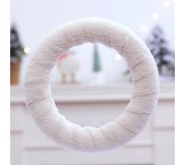 Венок плюшевый белый 25 см