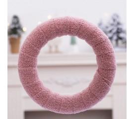 Венок плюшевый розовый 25 см