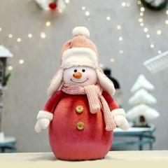 """Фигурка по елку """"Снеговик в красном 38 см"""""""