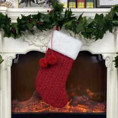 Рождественский носок вязаный красный - 40 см