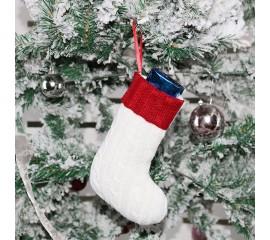 Рождественский носок белый - 19 см