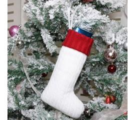 Рождественский носок белый - 30 см