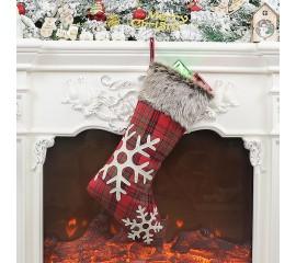 Рождественский носок со снежинками 44 см