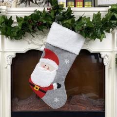 """Рождественский носок серый """"Санта"""" 44 см"""