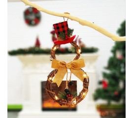 """Новогодняя декорация """"Снеговик коричневый"""" с подсветкой 40 см"""