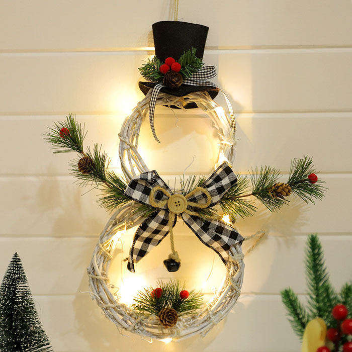 """Новогодняя декорация """"Снеговик белый"""" с подсветкой 40 см"""