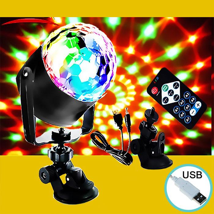 """Динамический RGB проектор """"Кристалл""""с пультом ДУ, питание USB"""