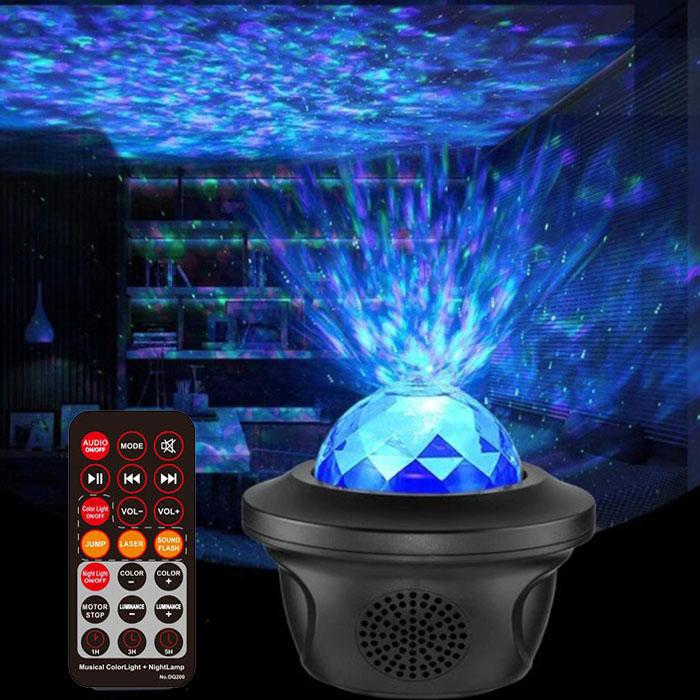 """Динамический проектор """"Волны, лазер, цветомузыка, колонка"""", с пультом ДУ"""