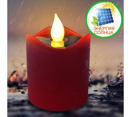Светодиодная свеча 7 см, на солнечной батарее, красная