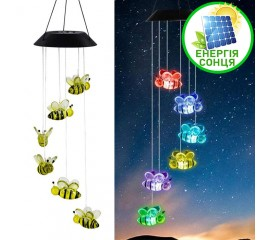 """Светодиодный декор """"6 пчелок"""", на солнечной батарее, RGB"""