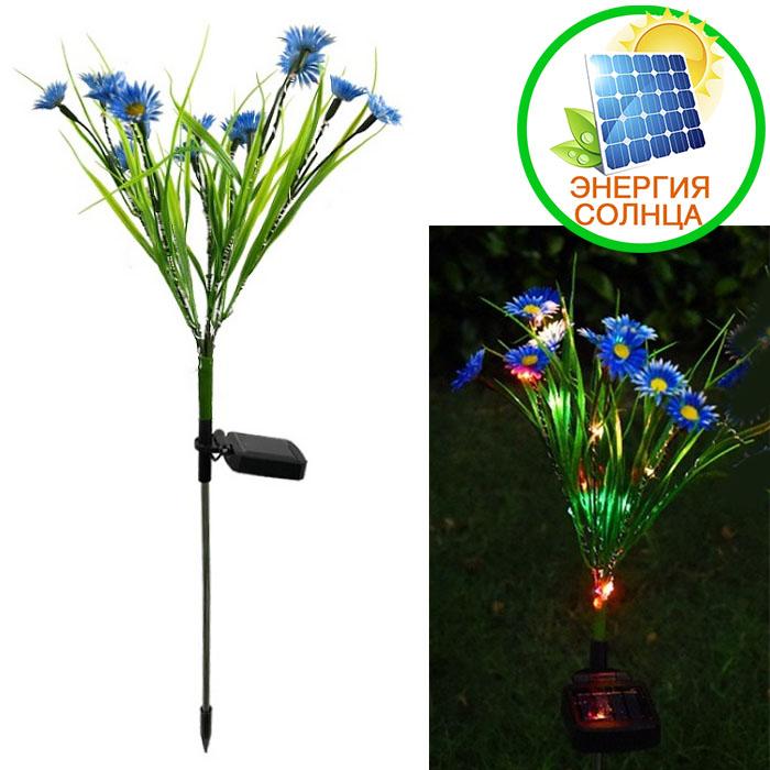 """Газонный декор """"Полевые цветы голубые"""" с подсветкой, на солнечной батарее"""