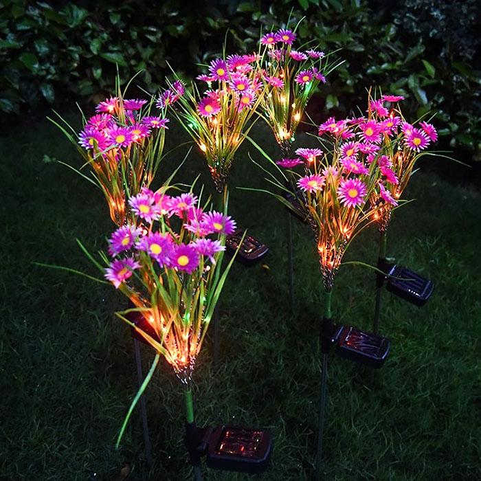 """Газонный декор """"Полевые цветы розовые"""" с подсветкой, на солнечной батарее"""