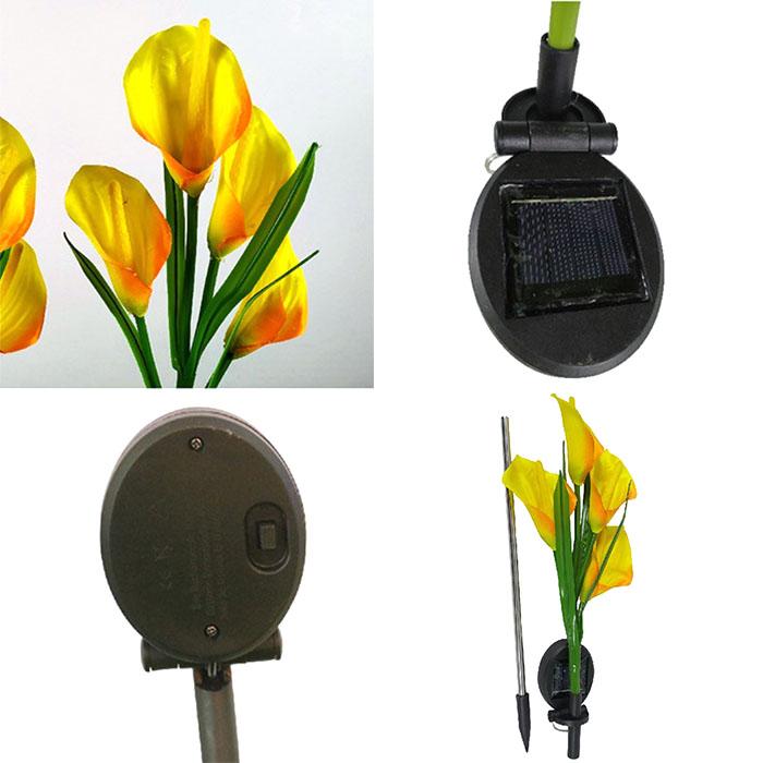 """Газонный декор """"Каллы желтые"""" с подсветкой, на солнечной батарее"""