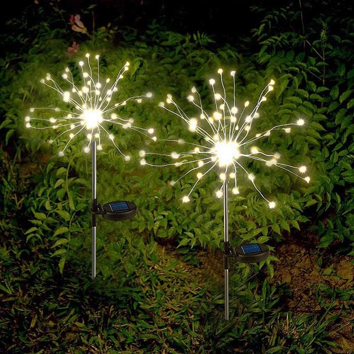 """Газонный светильник """"Фейерверк"""" на солнечной батарее, 120 светодиодов, 40 линий, 2 режима, теплый белый"""