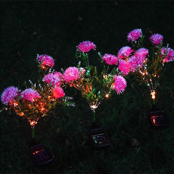 """Газонный декор """"Гвоздики розовые"""" с подсветкой, на солнечной батарее"""
