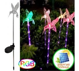 """Газонный декор """"Колибри"""" с подсветкой (5led), цветная, на солнечной батарее"""