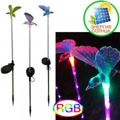 """Газонный декор """"Колибри с цветными крыльями"""" с подсветкой (6 led), цветная, на солнечной батарее"""