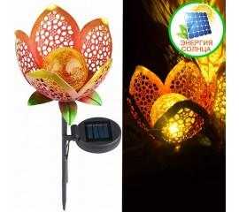 """Газонный светильник """"Цветок из металла и стекла"""", на солнечной батарее"""