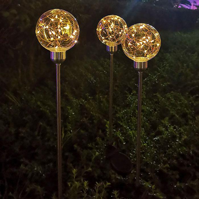 """Газонний декор """"Світлодіодний куля"""", на сонячній батареї, теплий білий"""