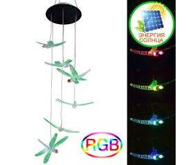 """Светодиодный декор """"6 стрекоз"""", на солнечной батарее, RGB"""