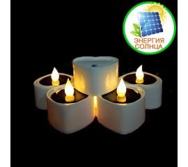 """Светодиодная свеча """"Сердце"""", на солнечной батарее, белая"""