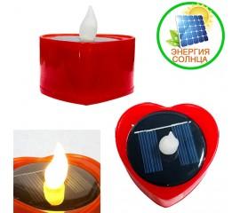 """Светодиодная свеча """"Сердце"""", на солнечной батарее, красная"""