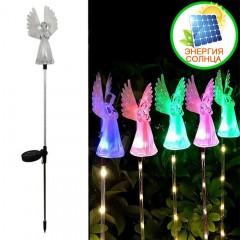 """Газонный декор """"Ангел"""" с подсветкой (5led), цветная, на солнечной батарее"""