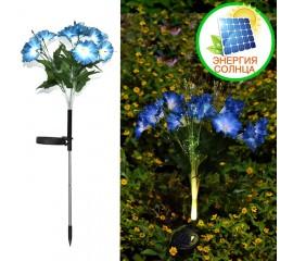 """Газонный декор """"Ипомея синяя"""" с оптоволоконной подсветкой RGB, на солнечной батарее"""