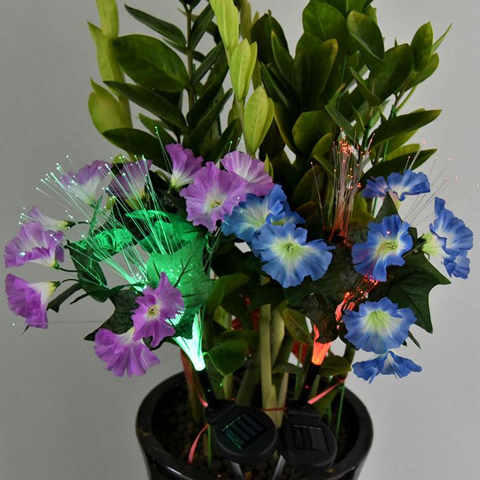 """Газонный декор """"Ипомея фиолетовая"""" с оптоволоконной подсветкой RGB, на солнечной батарее"""
